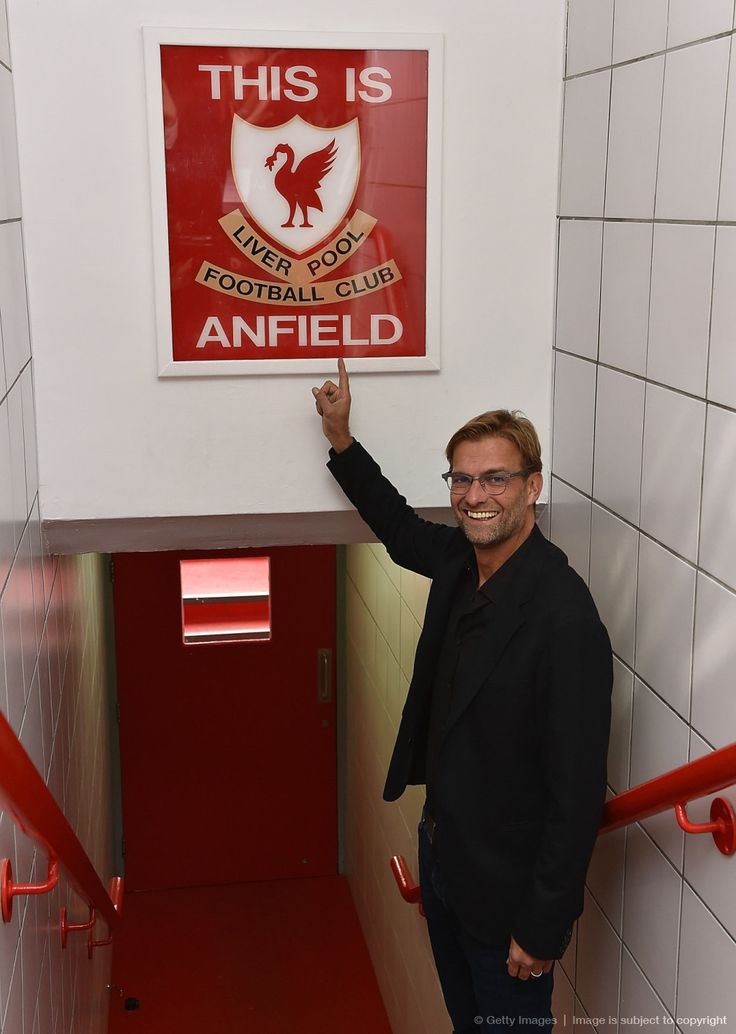 Juergen Klopp of FC Liverpool and Germany in Anfield Stadium.