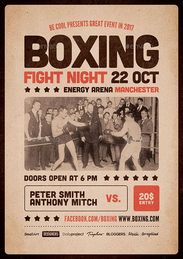 Boxing Flyer / Poster Vintage boxing posters, Boxing
