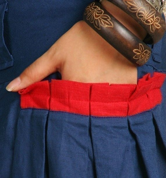 Etsy の Red Pocket silky linen maxi SKirt Q1001 by idea2lifestyle