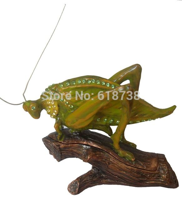 free shipping cricket insect jewelry box metal crafted gifts unique vintage trinket storage box earring necklace ring holder