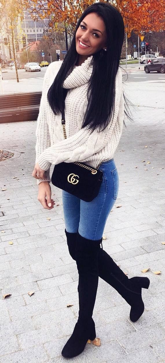 cool winter outfit / white knit sweater   bag   skinny jeans   over knee boots