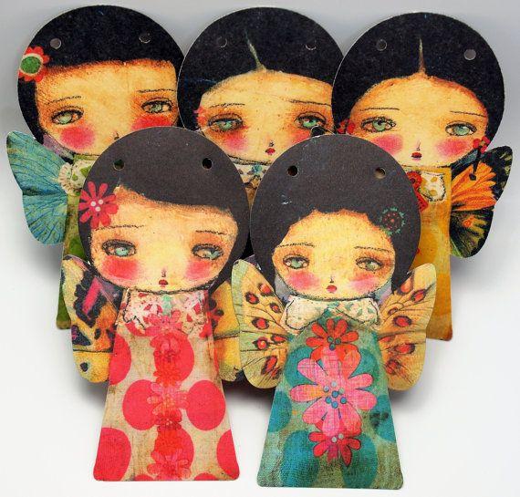 Las hadas de la primavera - papel decorativo figuras Garland empavesado DIY Kit por Danita arte