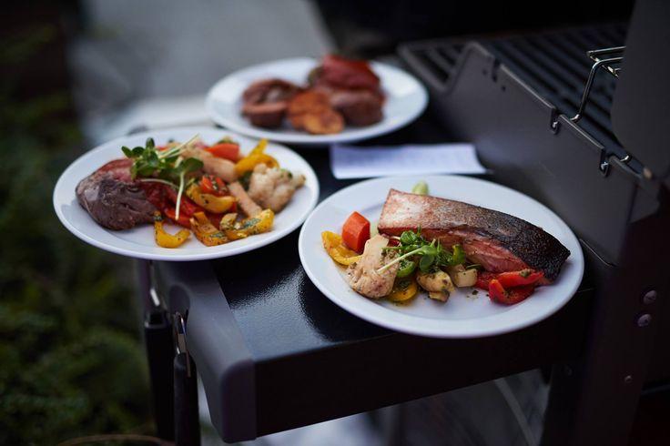Grill lazac, zöldségek és bélszínsteak
