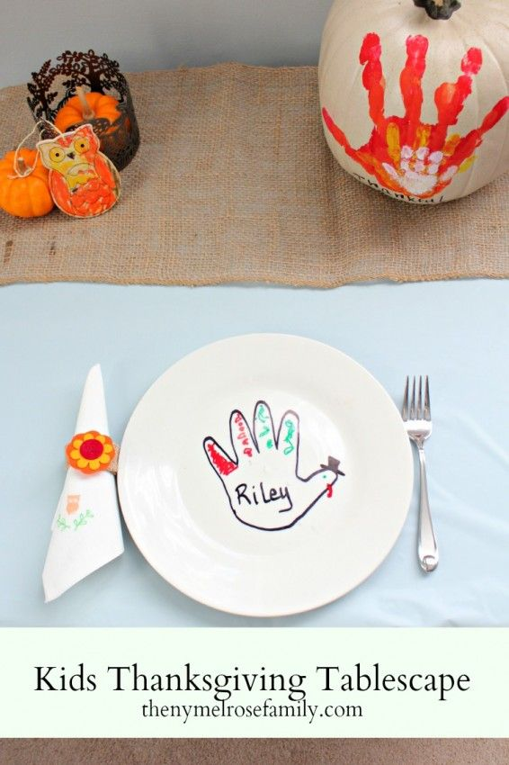 Kids Thanksgiving Tablescape with Napkin Ring Tutorial #turkeytablescapes #thanksgivingcrafts