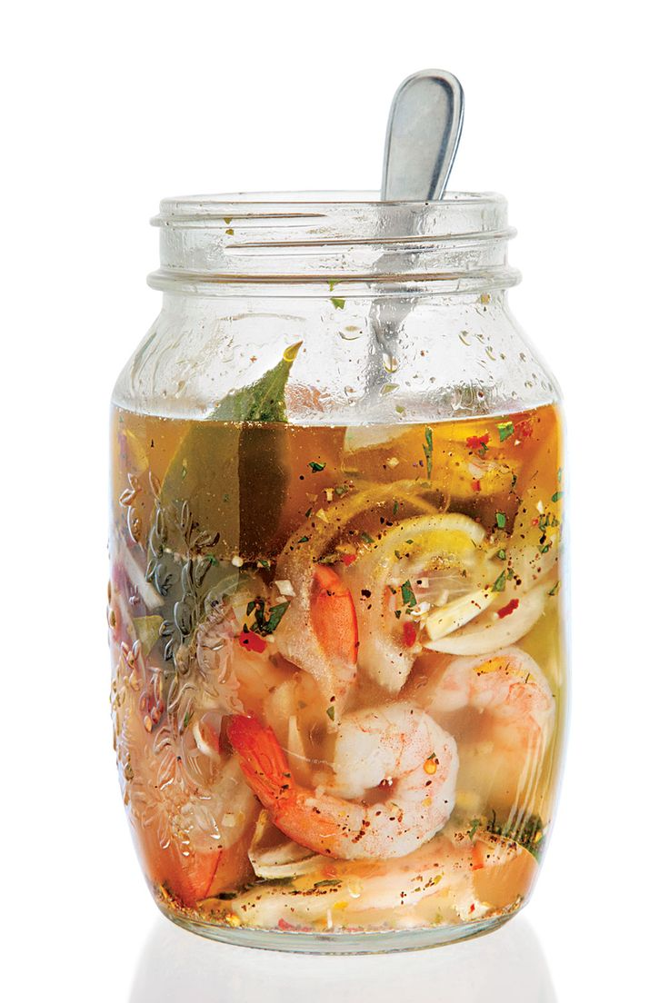 "Briny, faintly spicy pickled shrimp are a staple of Southern cuisine. In this Georgia-inspired version from Hugh Acheson's A New Turn in the South (Clarkson Potter, 2011), frozen raw shrimp are a fine substitute for fresh. As Hugh notes in his comment below, if the shrimp remain covered with oil, they'll last for ""a good week in the fridge. The longer they sit in their pickle liquid, the picklier they get."""