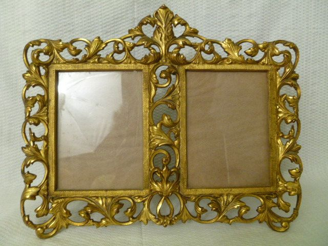 victorian french rococo brass double frame ornate brass double photo frame