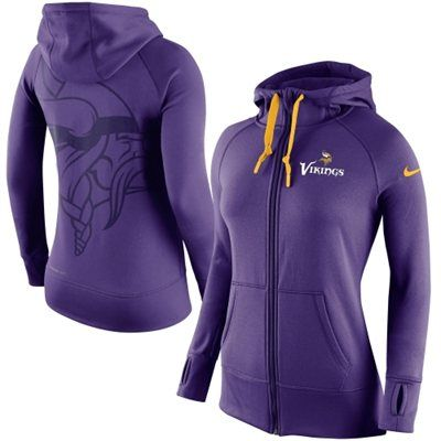 Women's Minnesota Vikings Nike Purple Warpspeed All Time Full-Zip Performance Hoodie