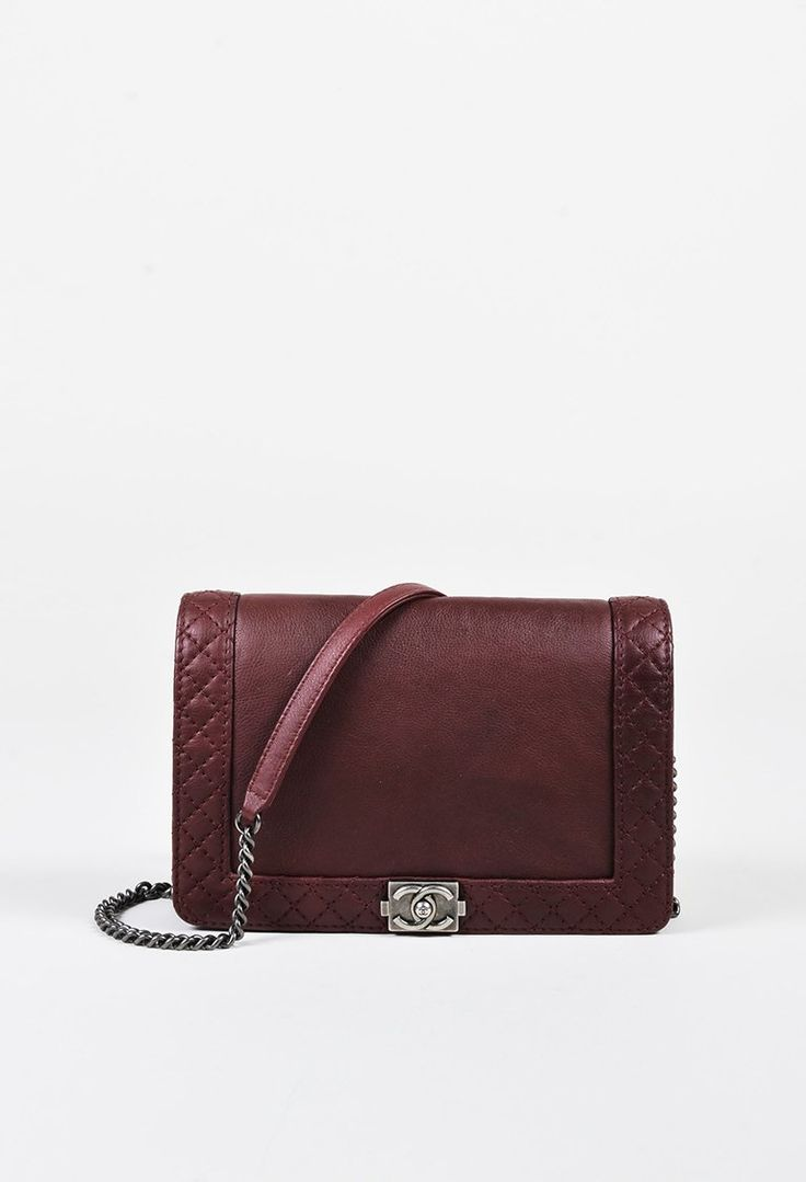 "Chanel ""Wine"" Purple Leather Quilted Trim Chain Link Shoulder Bag – Luxury Garage Sale"