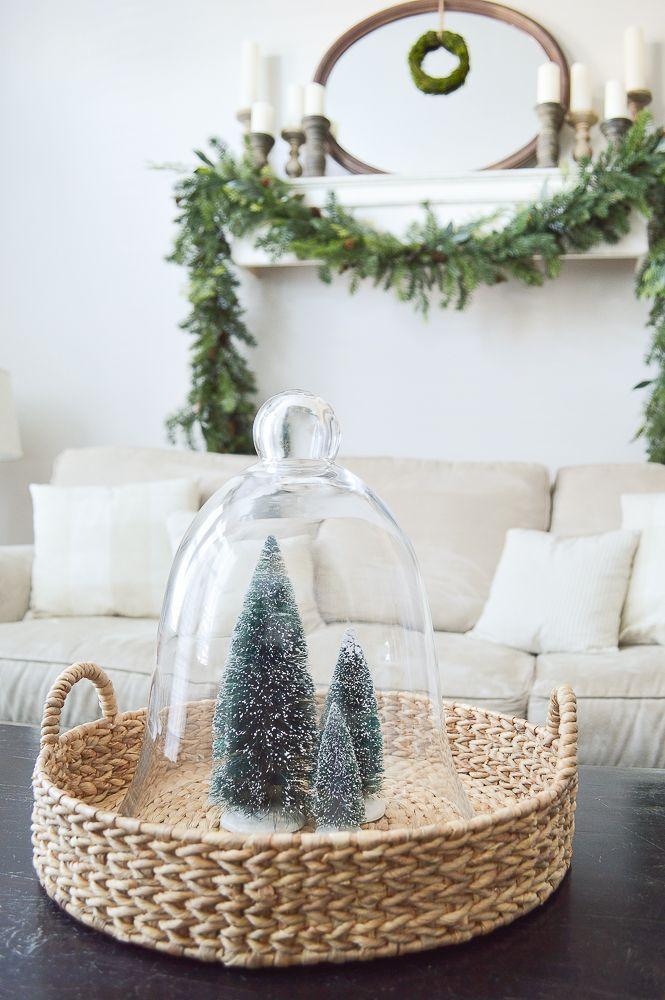 Simple Farmhouse Style Christmas Decor - Living Room Tour