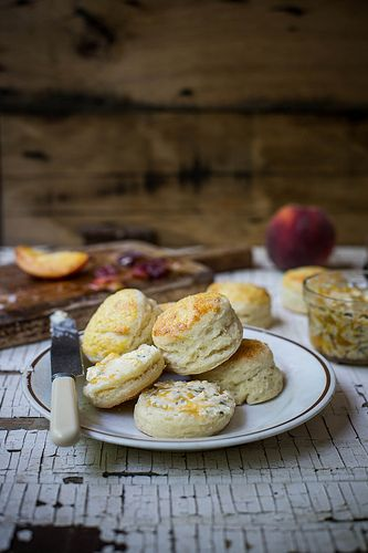 honeysuckle biscuits & sea salt peach butter by Beth Kirby   {local milk}, via Flickr.