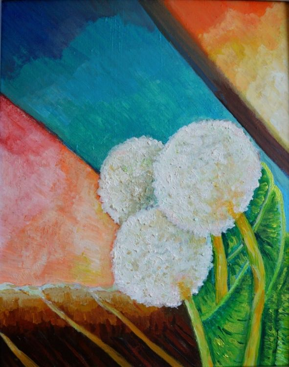 Bold white flowers (2015) Acrylic painting by Art By Innes