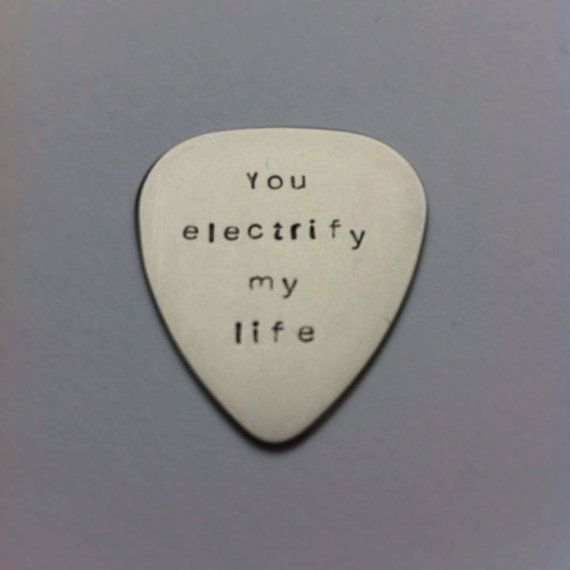 Hand stamped personalised metal plectrum - You electrify my life - Muse Lyrics - Music Quote