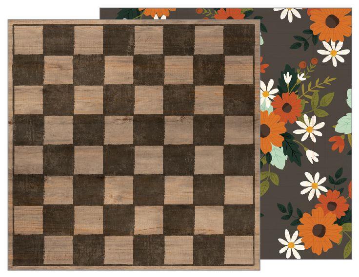 Papel Checkerboard 30×30  Descripción:   Papel de 30×30 cm, impreso a doble cara, por un lado tablero de ajedrez y por el otro motivos florales.  ideal para tus creaciones de scrapbook y manualidades.