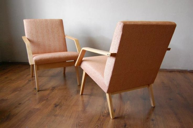 retro modern armchairs, restored chairs, Czechoslovakia design, midcentury modern