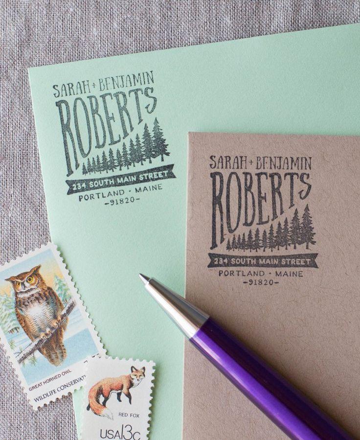 how to return address wedding envelopes%0A Forest Pine Trees Address Stamp  Tree IllustrationWedding StationeryForest Wedding  InvitationsPine TreeCustom Return