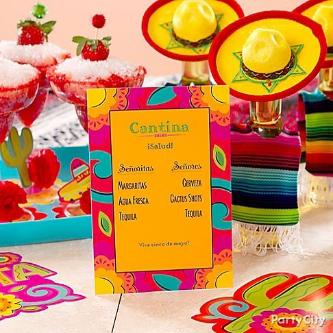 The cantina is open!  Make your own custom drink menu with a Latin vibe... ¡Ole! Mix up trendy margaritas for your VIP señoritas. And the thirsty señores? Do cervezas decked out in funny serapes and mini sombreros! Fill out your drinks menu with aguas frescas (fruit juices) and a tequila tasting. Yes I'll have another!     Shop Cinco de Mayo Party Ideas       SHOP THIS IDEA