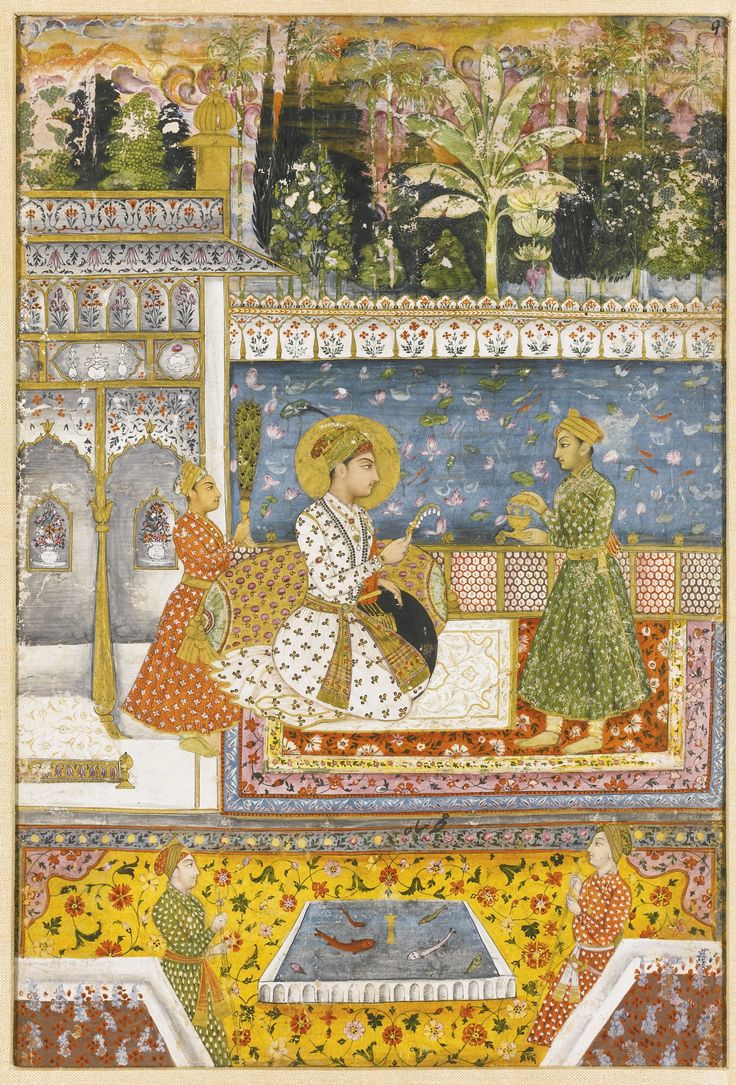 Mughal Emperor Muhammad Shah r. 1719- 48. Mughal elements with pre-exisiting Deccani sensibility. Indian miniature.