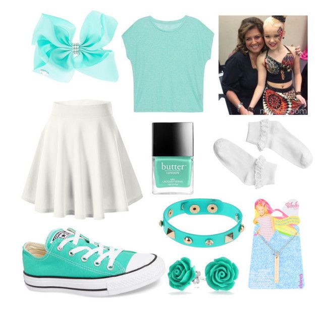 """Jojo siwa mint"" by reallifeunicorn ❤ liked on Polyvore featuring SIWA, Monki, Dettagli, Converse, Majestic Filatures, Butter London and Bling Jewelry"