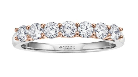 14 karat Canadian Certified Gold round brilliant cut Canadian diamond anniversary ring set with 0.60 carat total weight round brilliant cut Maple Leaf Diamonds Canadian diamonds