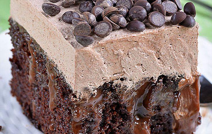 Μια υπέροχη συνταγή για ένα πλούσιο σοκολατένιο κέικ, εμποτισμένο με φανταστικό μείγμα λιωμένης σοκολάτας και ζαχαρούχου γάλακτος. Ολοκληρώνεται με σοκολατένια σαντιγί και σταγόνες σοκολάτας. Το απόλυτο γλυκό για τους λάτρεις της σοκολάτας.    Υλικά συνταγής Για το κέϊκ σοκολάτας: 1¾ φλ. τσαγιού αλεύρι 2 φλ. τσαγιού ζάχαρη ¾ φλιτζάνι χωρίς ζάχαρη κακά