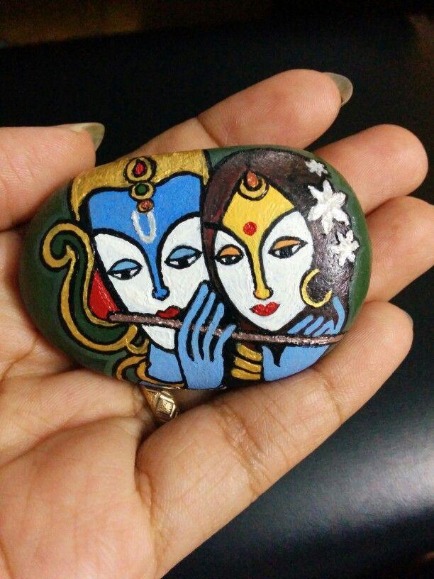 Radha Krishna rock painting 2