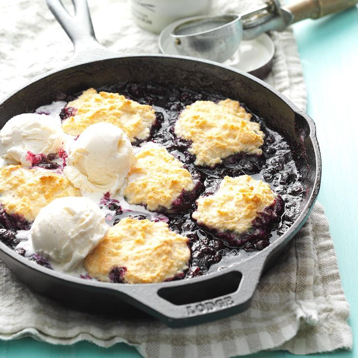 Skillet Blueberry Slump Recipe -My mother-in-law made a slump of wild blueberries with dumplings and served it warm with a pitcher of farm cream. We've been eating slump for nearly 60 years! —Eleanore Ebeling, Brewster, Minnesota