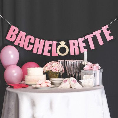 "Laser-cut banner with the wording ""Bachelorette"" in fuchsia shimmer and gold glitter paper. Comes with 108"" long white satin ribbon. Production Time Please allow up to 3 business days for this item to"