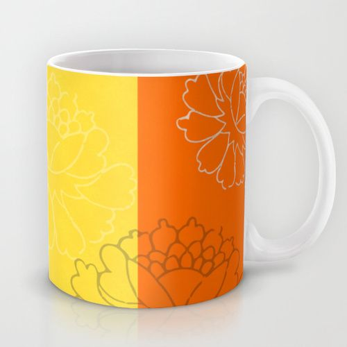 Chinese Flowers & Stripes - Orange Yellow Torquoise Brown Mug #chinese #japanese #asian #oriental #flower #floral #beautiful #color #colour #colourful #colorful #stripes #peonies #design #decor #homedecor #minimal #art #artsy #artistic #wallart #artprint #pod #frame #bathroom #bedroom #kitchen #beddings #mug #fabric #ceramic #fashion #tee #leggings #accessories #cover #case #phonecase #phone #iphone #tablet #ipad #Orange #Turquoise #yellow #cyan #brown #blue #decorideas #gift #giftideas #mug