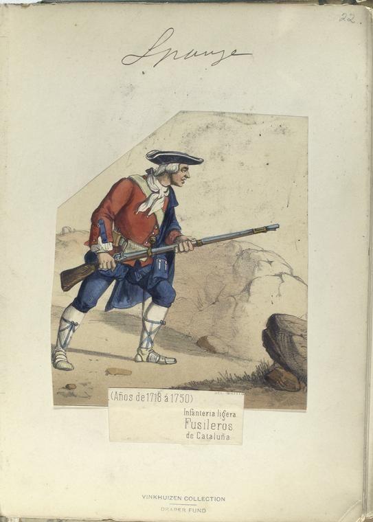 """1718-1750 Miquelet enquadrat com a """"Infanteria Lleugera"""" borbònica.  http://images.nypl.org/index.php?id=87525&t=w"""