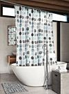Drawn aqua-circle print shower curtain | Simons Maison | Shop Fabric Shower Curtains Online in Canada | Simons