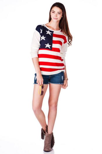 Independence Ave American Flag Sweater