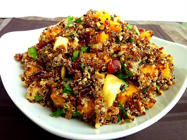 this looks so good-qinoa with squash, apples, nuts, and cranberries!  Might try it with sweet potato rather than squash