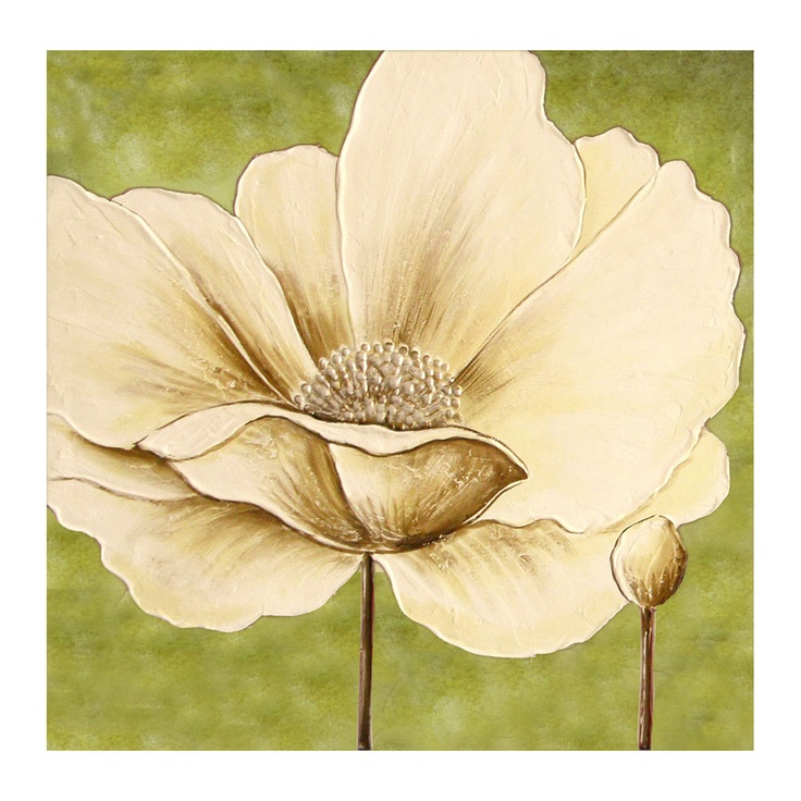 Buy Cream And Green Hand Painted Flower Canvas Wall Art