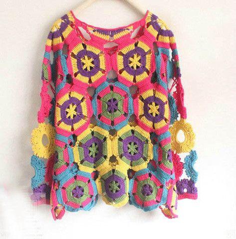 Vintage Handmade Crochet Long Sleeve Top