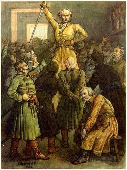 """...Wnet Gerwazy przez tłum się przecisnął  Na środek izby, wkoło scyzorykiem błysnął,  Potem, w dół chyląc ostrze na znak powitania  Przed Maćkiem, rzekł: """"Rózeczce Scyzoryk się kłania.""""  - """"To Scyzoryk! niech żyje Scyzoryk! krzykniono,  Wiwat Scyzoryk, klejnot Rębajłów zaścianku!  Wiwat Rębajło, Szczerbiec, Półkozic, Mopanku!"""""""
