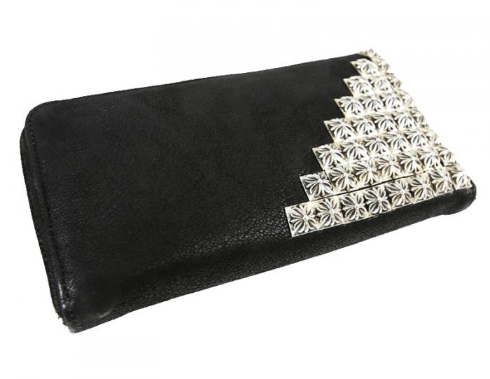 CHROME HEARTS  Wallet Piramid  CornerBox Cross  Destroy Leather