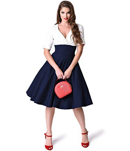 Unique Vintage 1950s Style Navy & White Delores Swing Dress  https://www.amazon.com/gp/product/B01JN9FWTM/ref=as_li_qf_sp_asin_il_tl?ie=UTF8&tag=rockaclothsto-20&camp=1789&creative=9325&linkCode=as2&creativeASIN=B01JN9FWTM&linkId=3af68ba3a14f20302bb53810b795f8a2