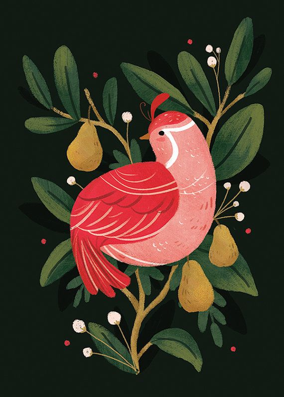 Partridge in a pear tree by ThePaperCompass on Etsy