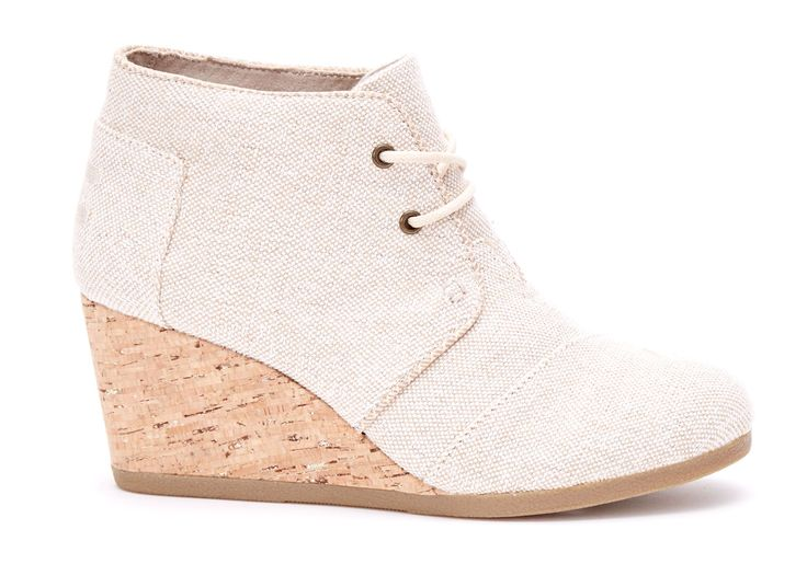 undefined Natural Metallic Linnen Desert Wedges Voor Dames