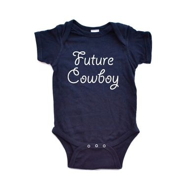 """Adorable Baby Boy Country Western """"Future Cowboy"""" Cute Soft Cotton Infant Creeper"""