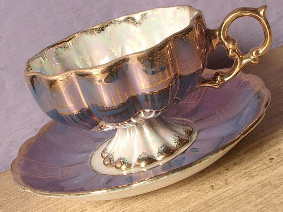 Antique Royal Sealy blue tea cup and saucer by ShoponSherman, $59.00