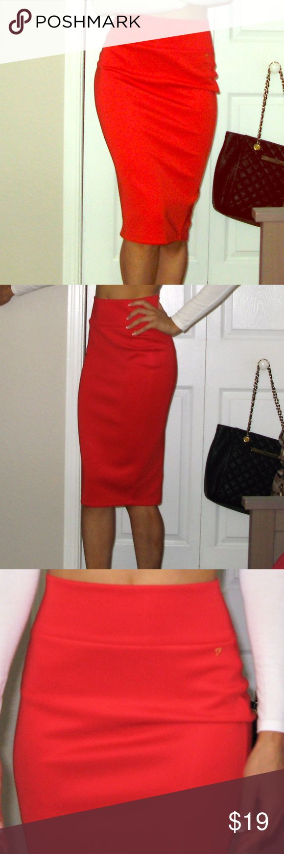 Thalia Sodi red pencil skirt size XS Work once to a concert Thalia Sodi pencil skirt size XS, pull on with slight banded waist. So sexy! Thalia Sodi Skirts Pencil