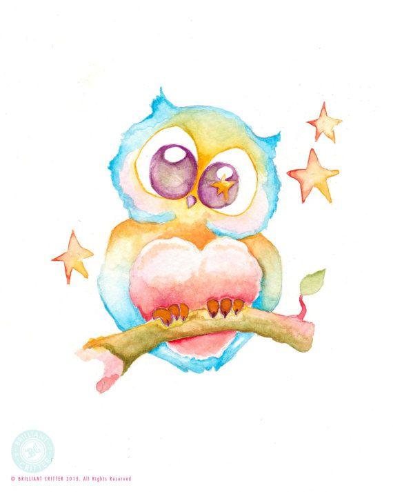Chouette aquarelle Print - pépinière Art Print - bébé hibou aquarelle peinture - Kids Wall Art - bébé chambre Art - Print hibou mignon - Bab...