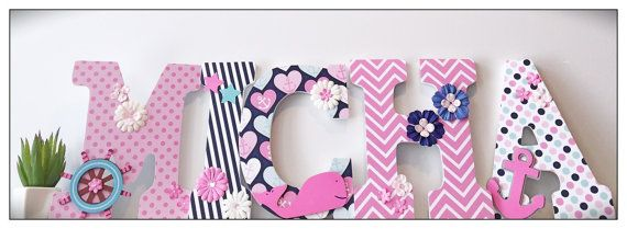 Nautical Nursery. Girl. Splish Splash. Baby Letters. by dmh1414