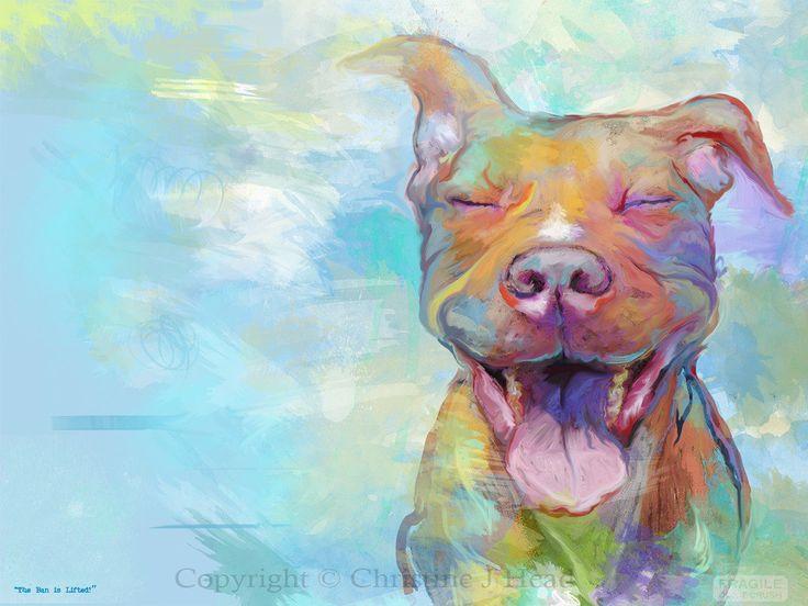 pitbull art | Pit Bull The Ban Is Lifted Fine Art Poster dog Gift Print Pitbull s ...