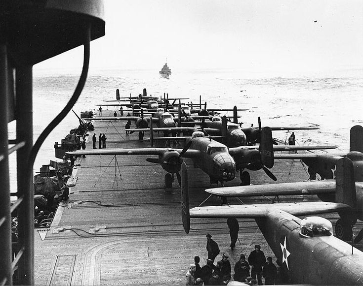 "April 18, 1942: ""Thirty Seconds over Tokyo - The Doolittle Raid"" B-25 Mitchell Bomber from USS Hornet (CV-8)."
