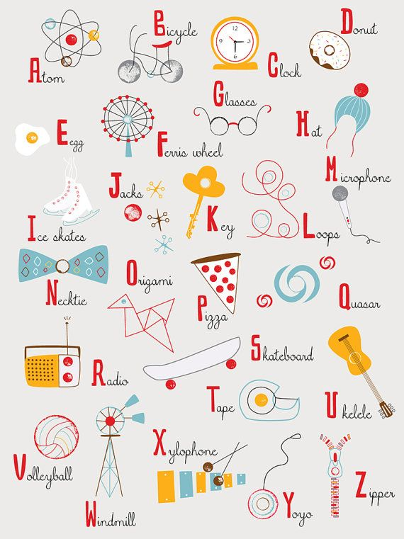 Rubber Stamp Alphabet Print - Archival Alphabet Print - Childrens Room Decor - Nursery - Decor - Baby Gift -Typography Print
