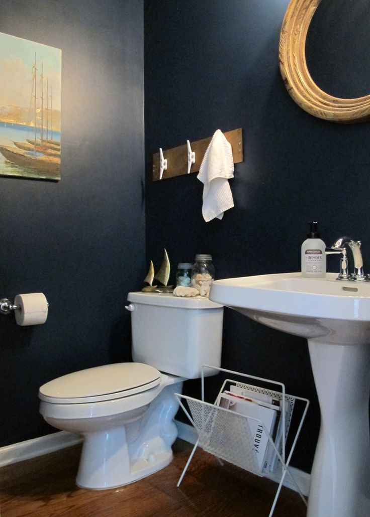 Nautical themed half bath makeover navy bathroom for Navy bathroom accessories