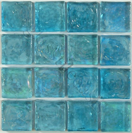 "Ocean Water  3/4"" Squares, 3/4"" x 3/4"", Blue, Glossy & Iridescent, Blue, Glass"