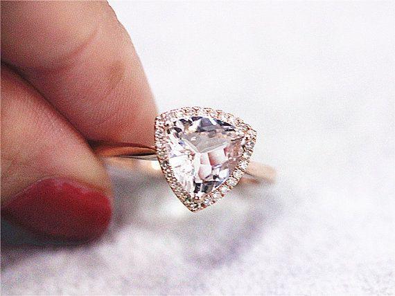 14K Rose Gold 8mm Pink Morganite Ring Diamonds Engagement Wedding Band Ring Anniversary Ring VS Trillion Cut Morganite Ring